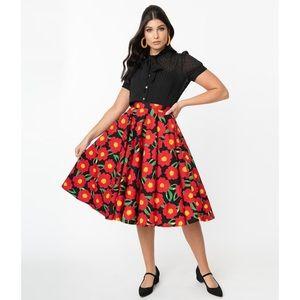 Unique Vintage Retro A-Line Marigold Skirt